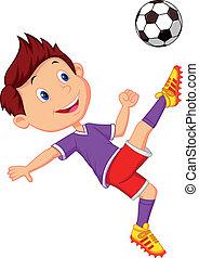 jongen, spotprent, voetbal, spelend