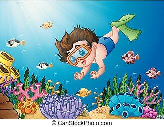 jongen, spotprent, zee, duiken