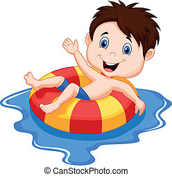 jongen, spotprent, zwevend, inflatab