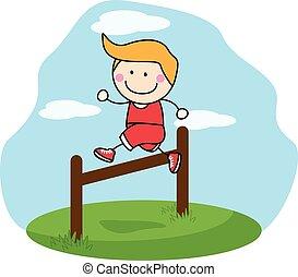 jongen, springt, sportende