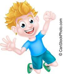 jongen, springt, spotprent, vreugde