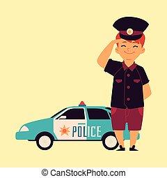 jongen, staand, auto., patrouille, pet, weinig; niet zo(veel), politie