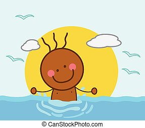 jongen, strand, zwemmen