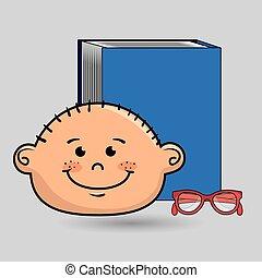 jongen, studeren, boek, student, bril