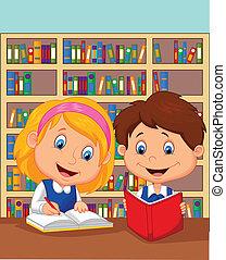 jongen, studeren, meisje, samen, spotprent