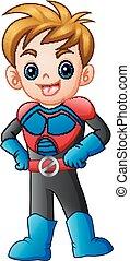 jongen, superhero, het poseren, spotprent