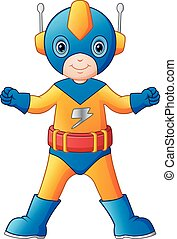 jongen, superhero, spotprent