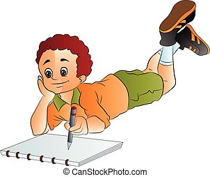 jongen, tekening, illustratie, sketchpad