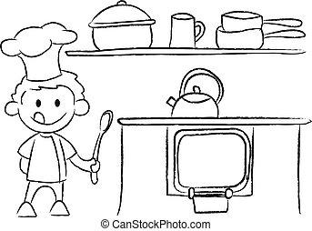 jongen, tekening, keuken