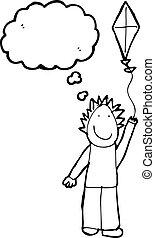 jongen, tekening, vliegende kite, kind