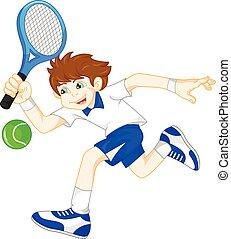 jongen, tennis, spotprent, spelend