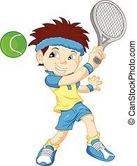 jongen, tennis, spotprent, speler