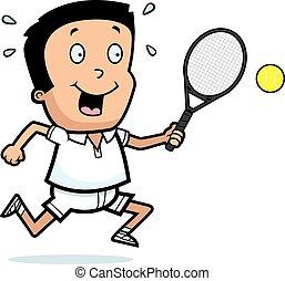 jongen, tennis, spotprent