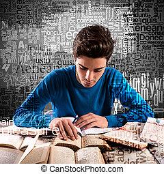 jongen, terwijl, geconcentreerde, studerend