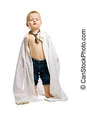 jongen, tie., hemd, reusachtig, studio, baby