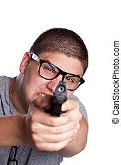 jongen, tiener, geweer, wijzende, het schreeuwen