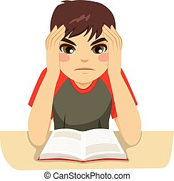 jongen, tiener, hard, studerend