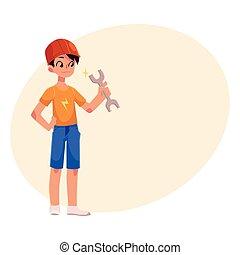 jongen, tiener, helm, aannemer, moersleutel, vasthouden, sinaasappel