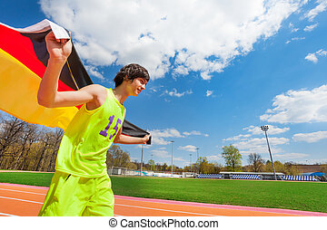 jongen, tiener, sportief, vlag, rennende , duitsland