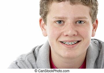 jongen, tiener, studio, het glimlachen, verticaal