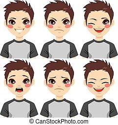jongen, tiener, uitdrukkingen, gezicht