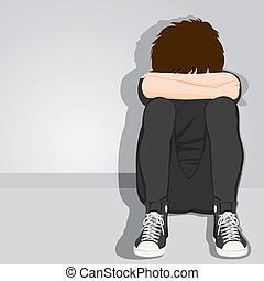 jongen, tiener, wanhopig, verdrietige