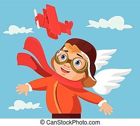 jongen, toneelstuk, karakter, vliegtuig