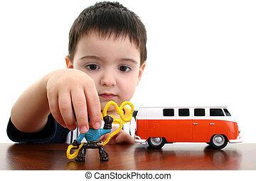 jongen, toneelstuk, kind, speelgoed