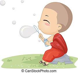jongen, toneelstuk, monnik, illustratie, bellen, geitje