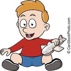 jongen, toneelstuk, schaaf, speelbal