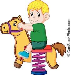 jongen, toneelstuk, speelbal, bruin paard, vrolijke