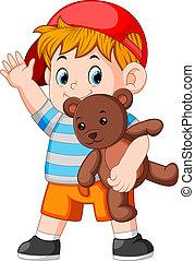 jongen, toneelstuk, teddy beer, gekke