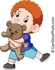 jongen, toneelstuk, teddy, grijze , beer, vrolijke