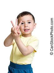 jongen, tonen, handen, nummer drie, kind