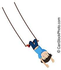 jongen, trapeze, schommel