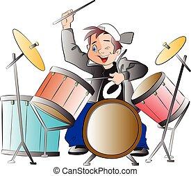 jongen, trommels, spelend, illustratie