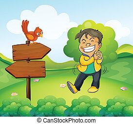 jongen, tuin, wooden board, richtingwijzer, het glimlachen