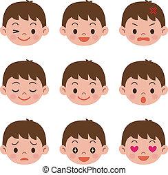 jongen, uitdrukkingen, gezichts