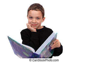 jongen, vasthouden, een, schoolboek