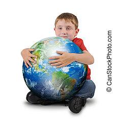 jongen, vasthouden, plant, aarde, op wit, achtergrond