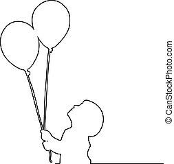 jongen, vasthouden, twee, illustratie, vrijstaand, lijnen, vector, zwarte achtergrond, kleine, witte , ballons