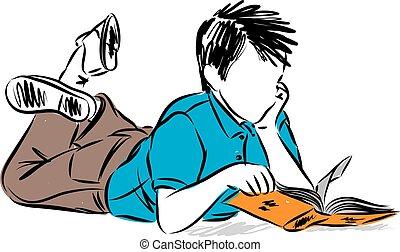 jongen, vector, boek, illustratie