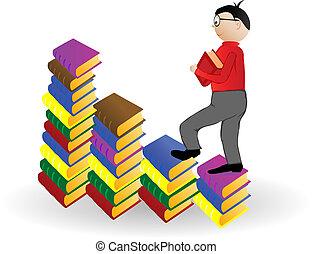 jongen, vector, illustratie, gaan, boekjes , onder