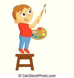 jongen, vector, illustratie, kunstenaar