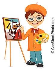 jongen, vector, spotprent, illustratie, kunstenaar