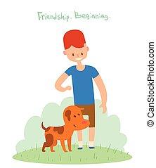 jongen, vector, vrienden, dog, illustratie