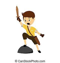 jongen, vector, zwaard, illustratie