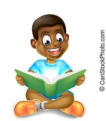 jongen, verbazend, lezende , spotprent, boek
