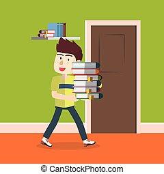 jongen, verdragend, een, stapel, van, boek