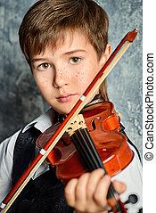 jongen, viool